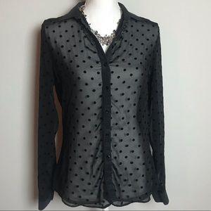 ZARA sheer black polka dot button down blouse